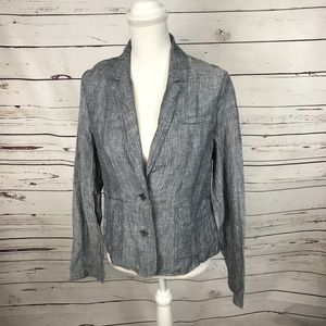 Eileen Fisher blue and white linen blazer S small